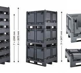 Összecsukható műanyag konténer ajtóval (1200x1000x847)